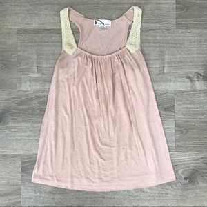 Tops - Dusty rose pink tank top with gold accent straps.